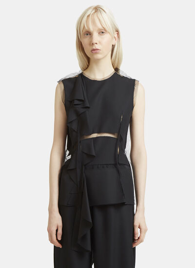 Maison Margiela Mesh Panel Wool Top