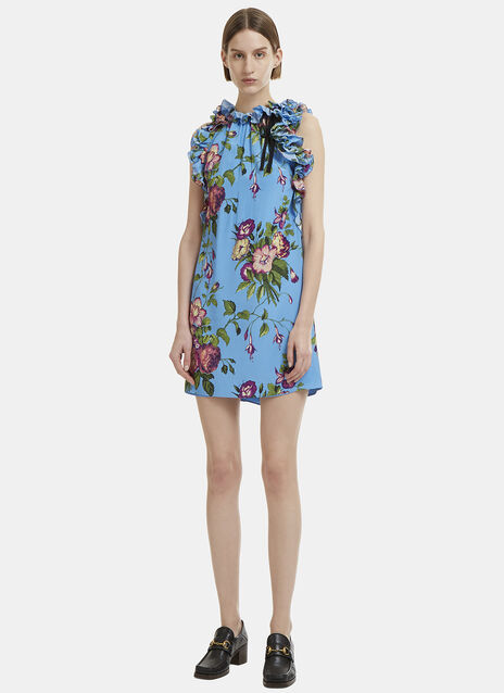 Gucci Sleeveless Floral Print Silk Dress