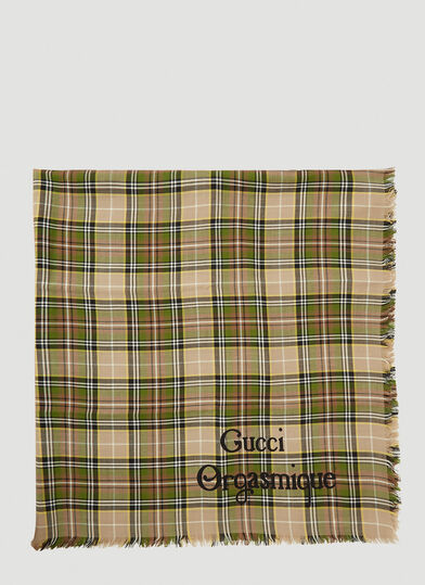 구찌 Gucci Orgasmique Check Scarf in Green