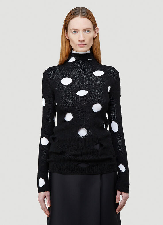 Prada Cut-Out Turtleneck Sweater 1