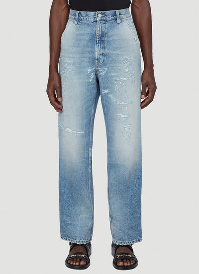 Gucci Distressed Wide-Leg Jeans