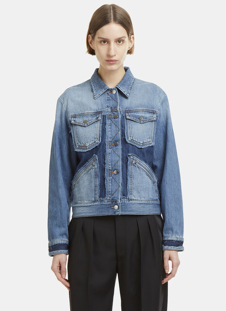 Raw Edge Patchwork Denim Jacket