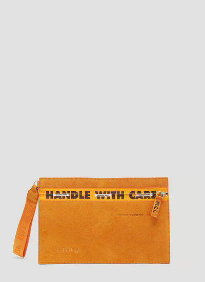 Heron Preston Suede Handle with Care Pouch