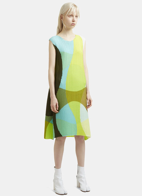 Issey Miyake Leaf Transfer Boat Neck Sleeveless Dress