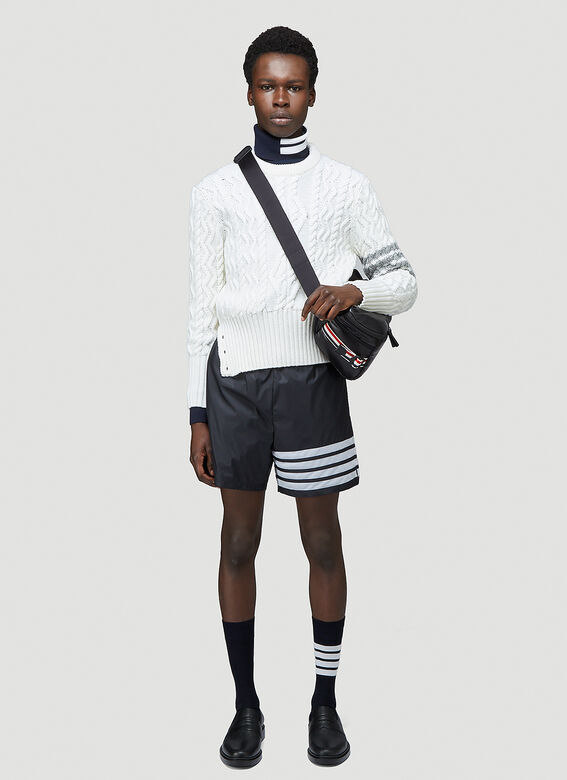 Thom Browne CLASSIC ARAN CABLE CREW NECK PULLOVER W/ 4 BAR SLEEVE IN FINE MERINO WOOL 2