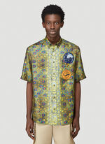 Burberry LOOK 19: Short sleeve printed 'fish scales' silk twill 'Boy' fit shirt