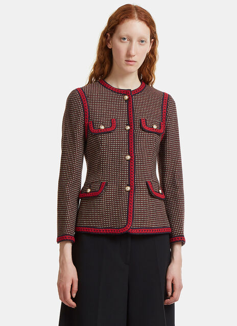 Gucci Polka Dot Collarless Jacket