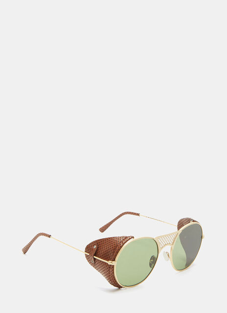 Lawrence Leather Flap Oval Sunglasses