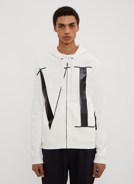 Valentino Hooded VLTN Zip-Up Sweater
