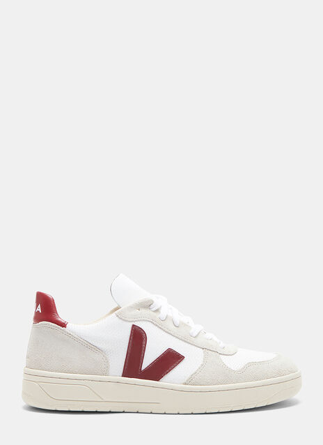 Veja V-10 Mid-Top Mesh and Suede Panelled Sneakers