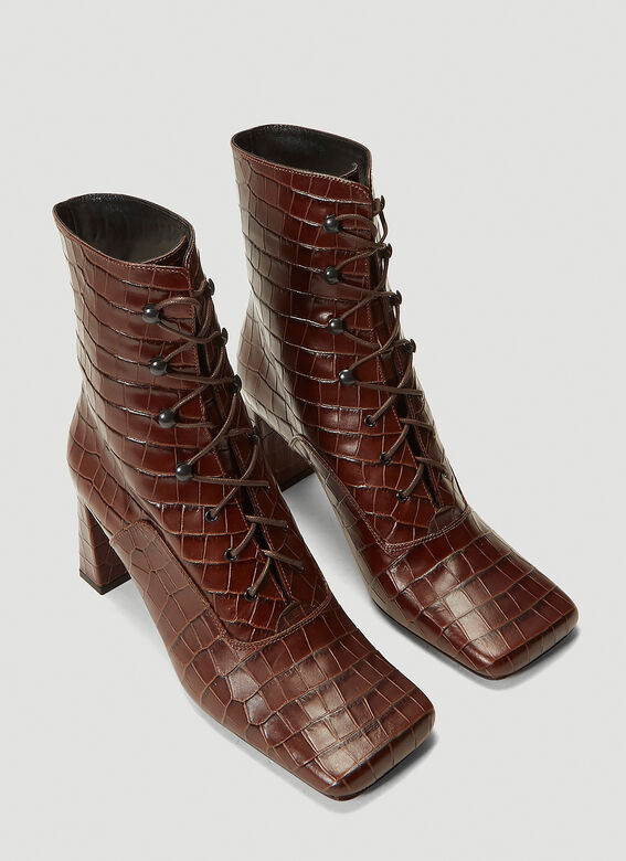 BY FAR Claude Embossed-Leather Boots 2