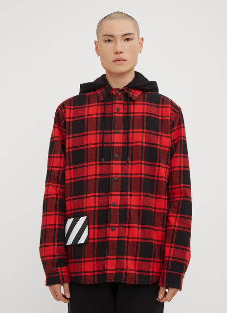 Off-White Hooded Check Print Flannel Jacket