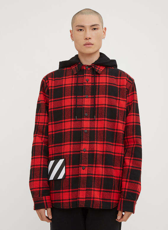 bf0483231e4 Off-White Hooded Check Print Flannel Jacket in Red