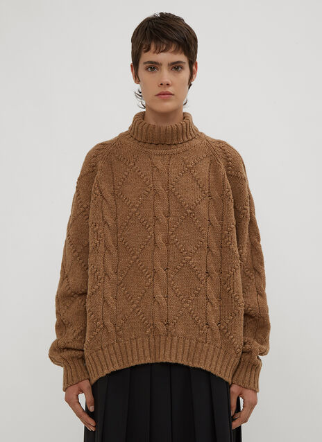 Jil Sander Turtle Neck Cable Knit Sweater