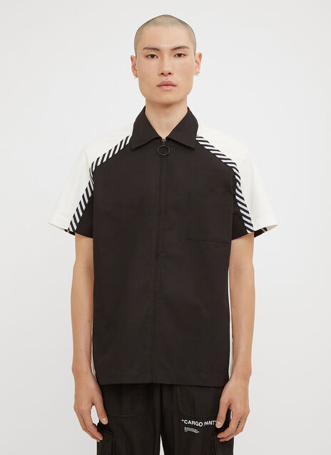 Off-White Short Sleeve Stripe Zip-Up Shirt