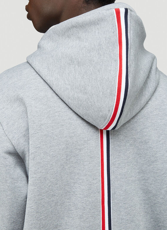 Thom Browne HOODIE ZIP-UP PULLOVER IN CLASSIC LOOPBACK WITH CENTER-BACK RWB STRIPE 5