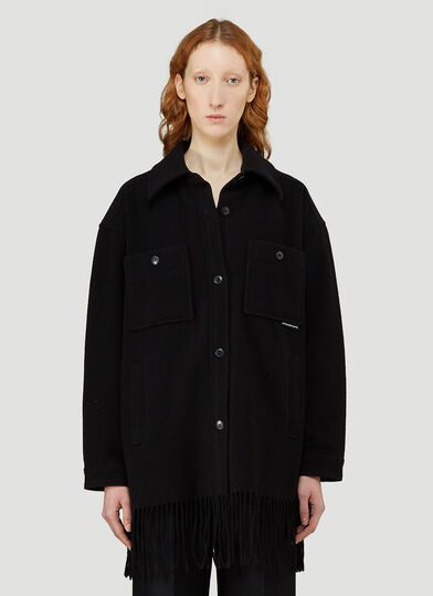 알렉산더 왕 Alexander Wang Fringed Single-Breasted Jacket in Black