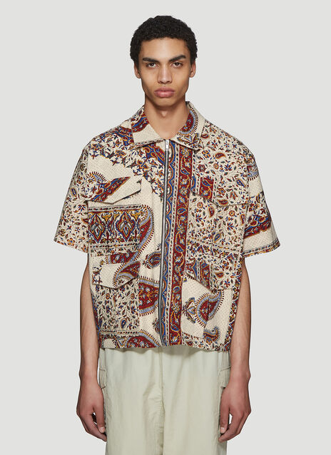 Paria Farzaneh Iranian Print Zip Short Sleeve Shirt