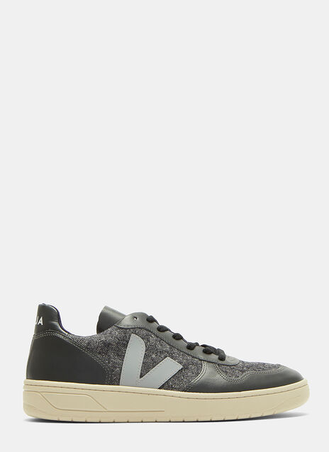 V10 Flannel Panelled Leather Low-Top Sneakers