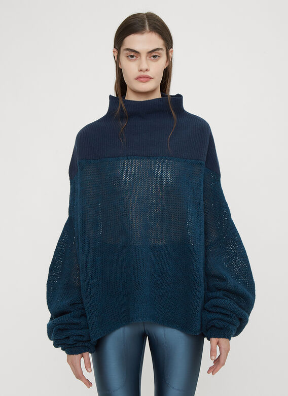 Unravel Project Mesh Knit Turtle Neck Sweater
