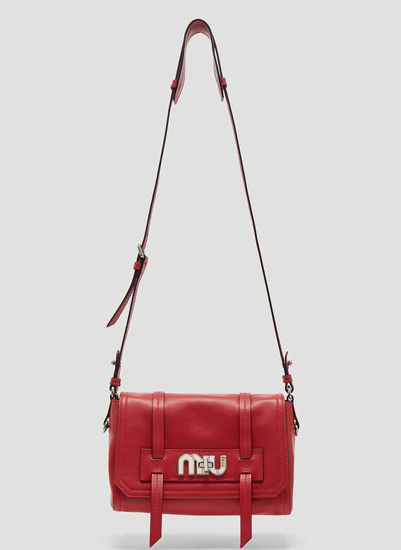 Miu Miu Grace Logo Shoulder Bag in Red  e9da23e263383