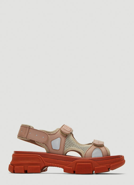 776ff9776 Gucci Leather and Mesh Sneaker Sandals. click to zoom