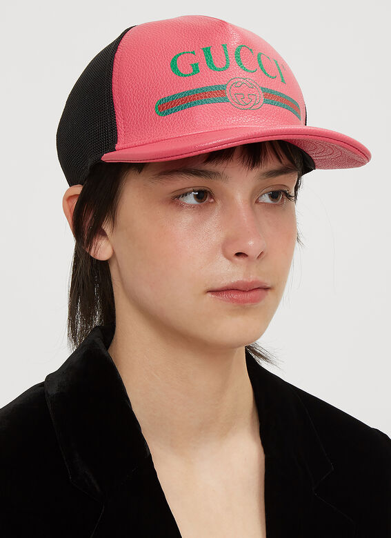 Gucci Logo Print Leather Trucker Cap