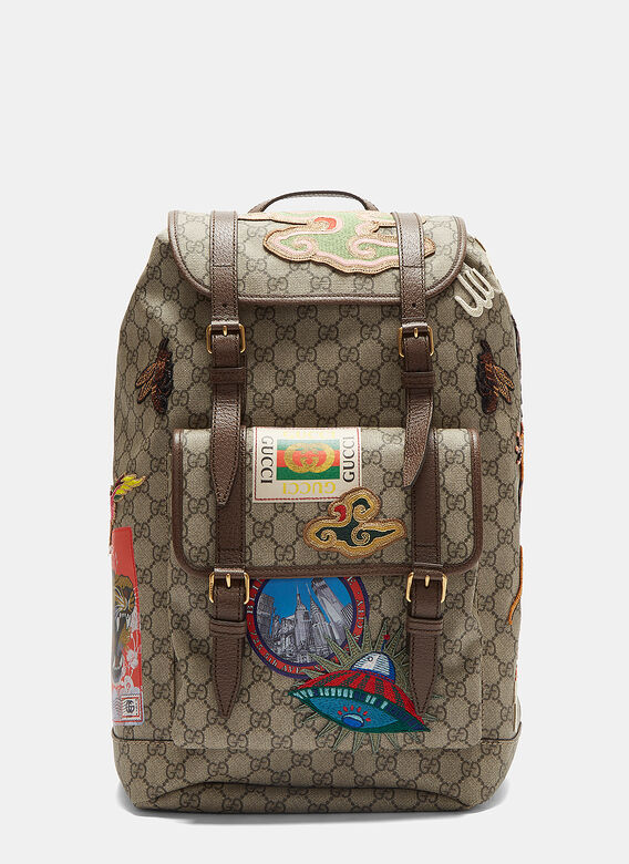 6e364457c784 Gucci Courier GG Supreme Backpack in Brown