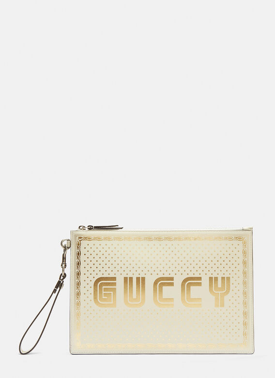 5b3d81213c9 Gucci Guccy Print Pouch in White