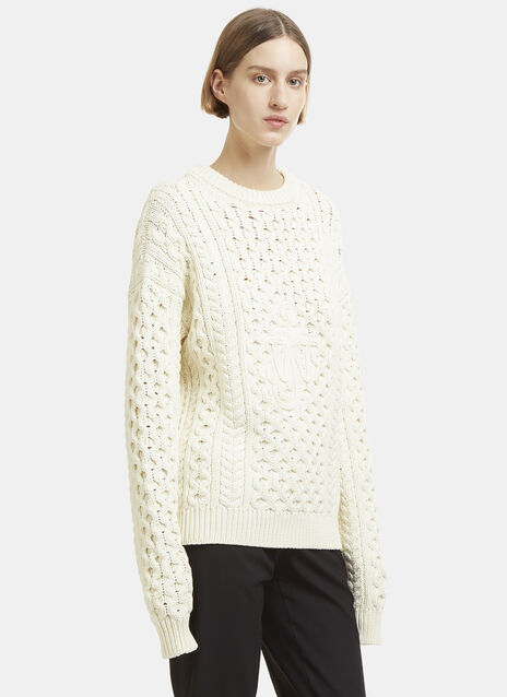 JW Anderson JWA Embroidered Cable Knit Sweater