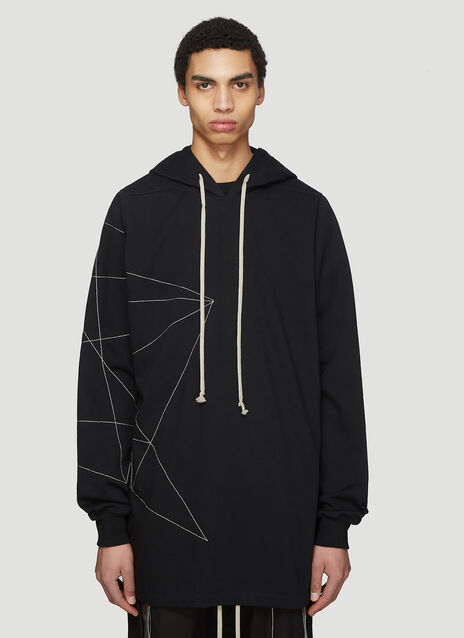 Rick Owens Hooded Geometric Print Stitch Sweater