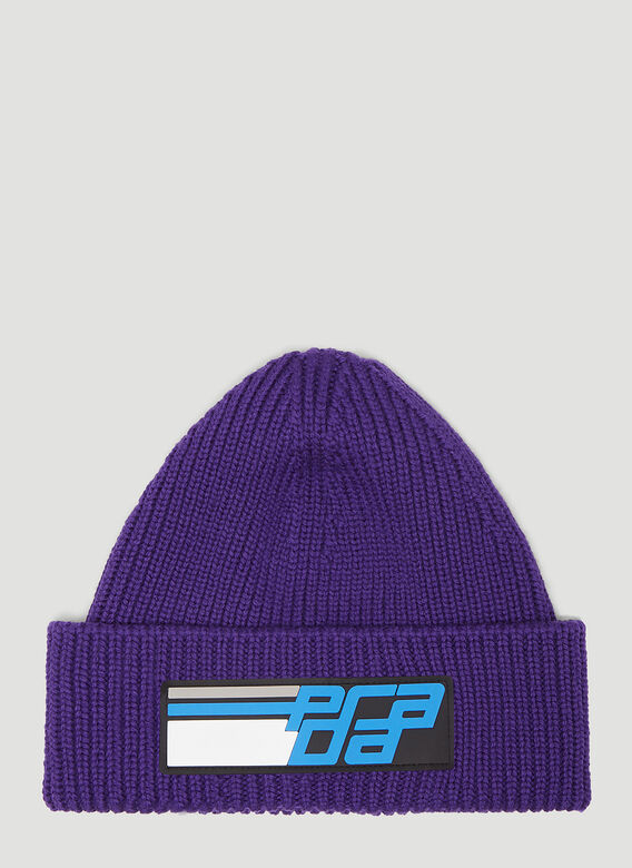 7337f4d2a3f Prada Rubber Logo Beanie Hat in Purple
