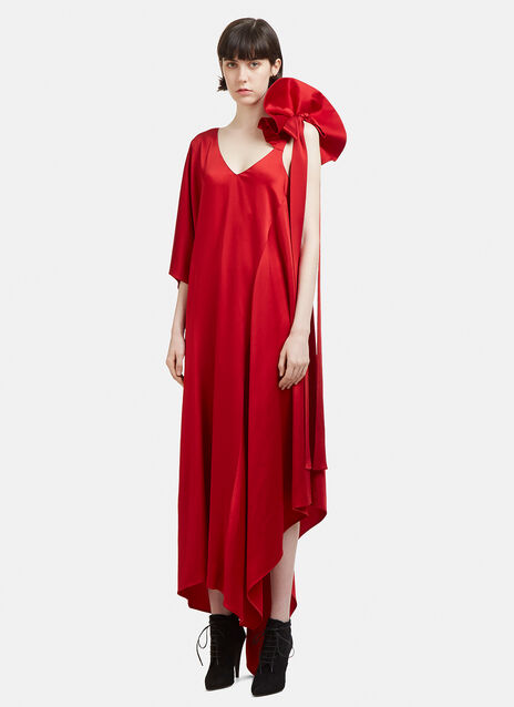 Valentino Asymmetric Ruffled-Shoulder Gown