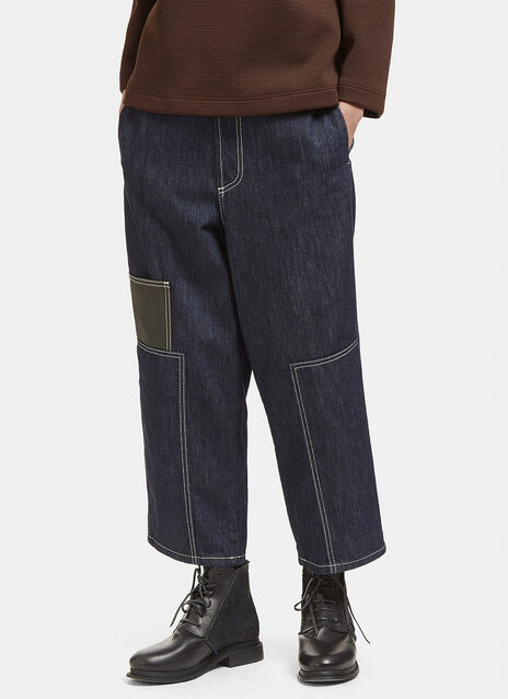 Contrast Stitched Wide Patch Jeans