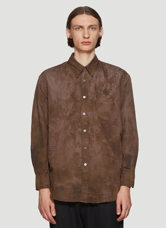 OUR LEGACY Washed-Effect Shirt in Brown