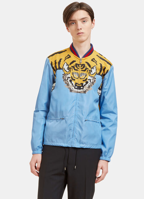 Tiger Print Windbreaker Bomber Jacket