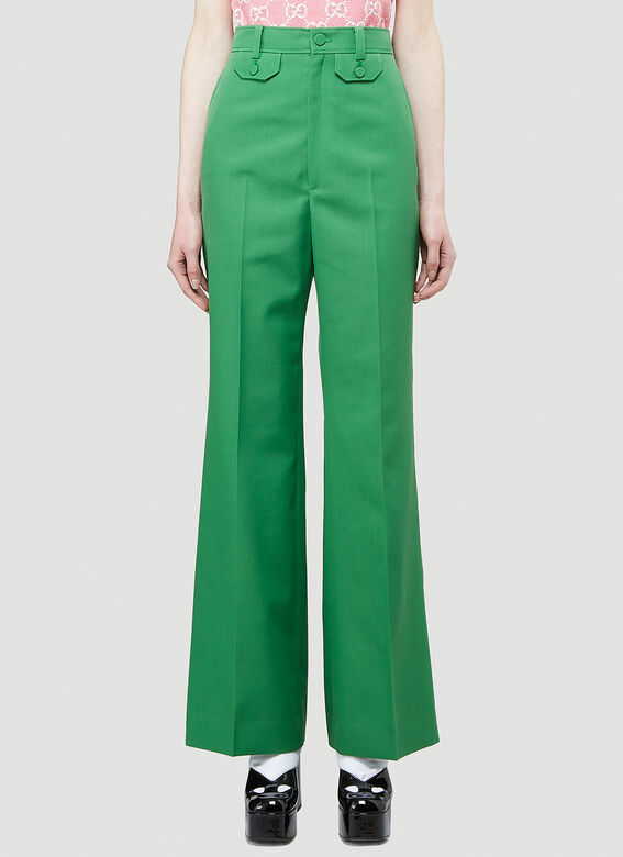 Gucci Flared Pants in Green