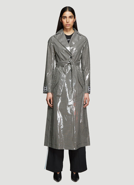 Off-White Check Print Tech Trench Coat