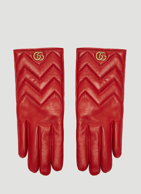 Gucci Marmont Chevron Leather Gloves