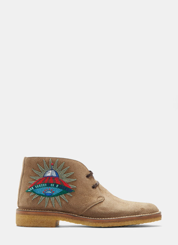 5283a8e9b12fc Gucci Suede Embroidered Appliqué Ankle Boots