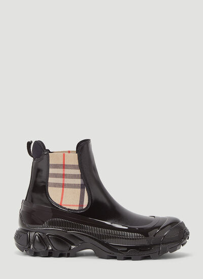 Burberry Check Coated Chelsea Boots