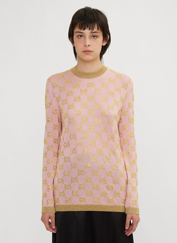 d00b25d3a99 Gucci GG Crystal Sweater in Pink