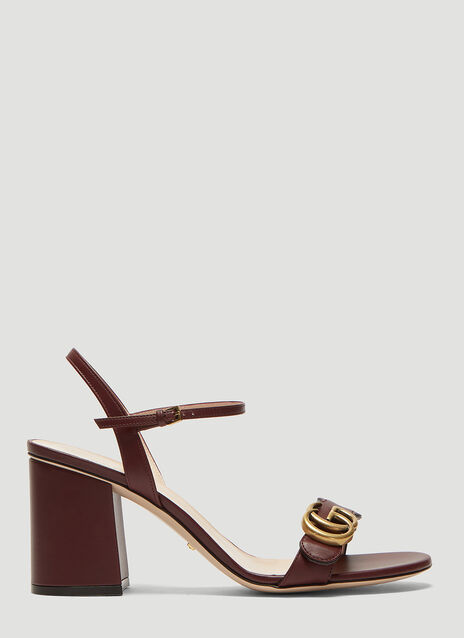 Gucci Double G Leather Mid-Heel Sandals