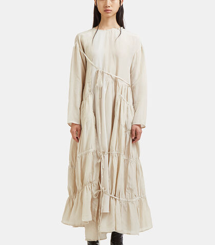 Long Tiered Ruched Seam Linen Dress