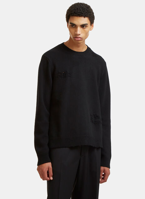 Valentino Destroyed Knit Crew Neck Sweater