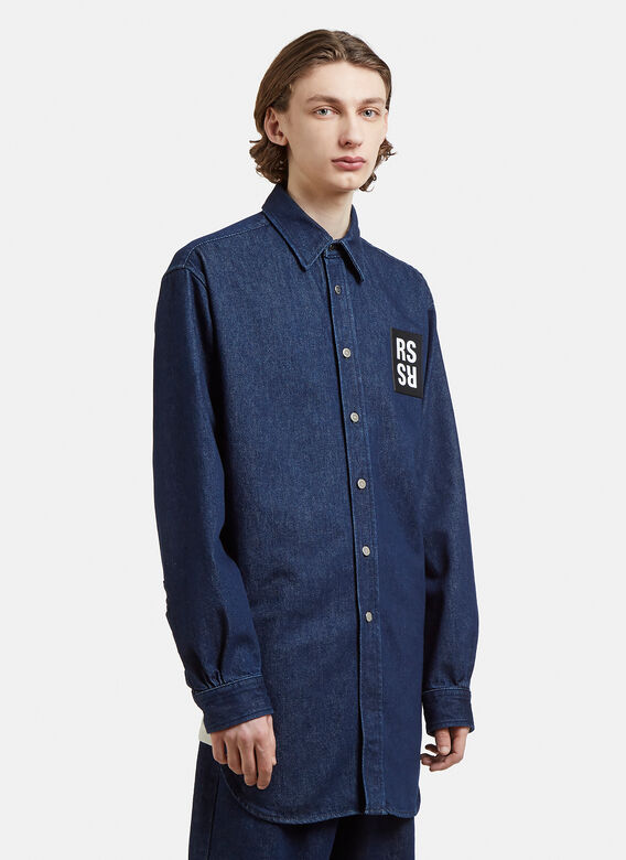 42f5a766514 Raf Simons Oversized Logo Patch Denim Shirt in Navy