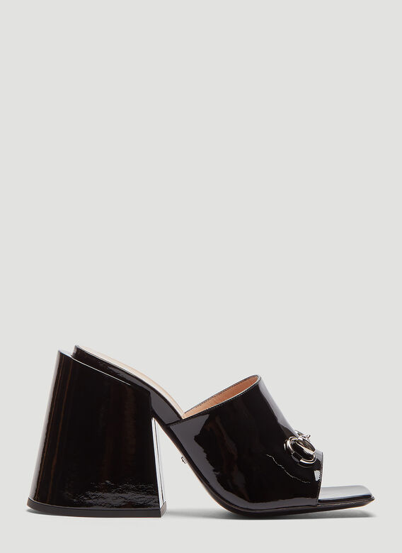 ce8e786ba1f Gucci Patent Leather High-Heel Slide in Black