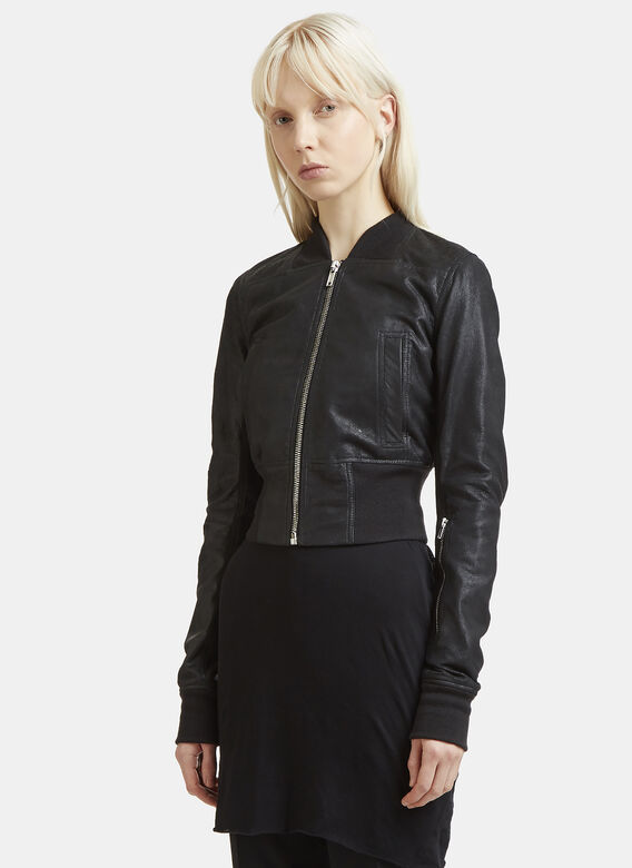 Long Sleeve Rib Waist Leather Bomber Jacket In Black by Rick Owens