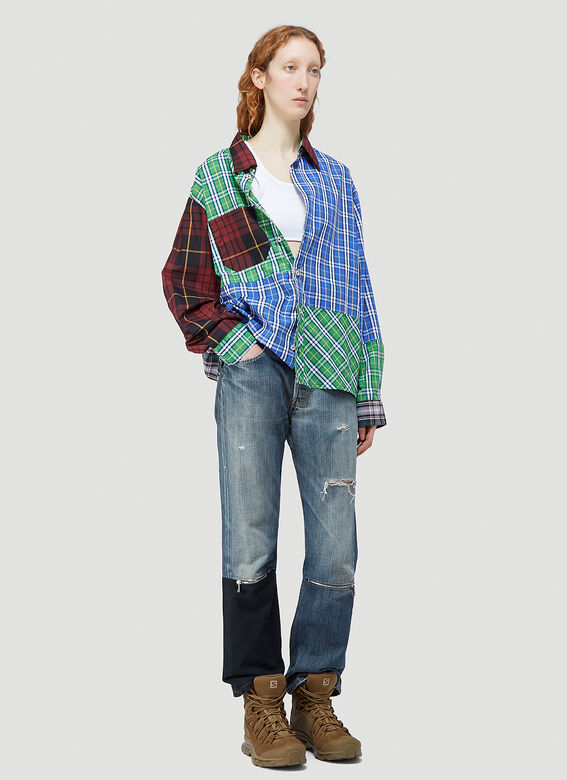 (Di)vision Deadstock Checked Patchwork Shirt 2