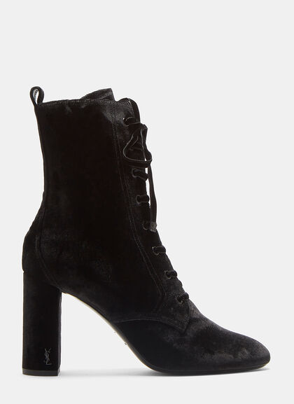 Image of LouLou 95 Lace-Up Velvet Ankle Boots